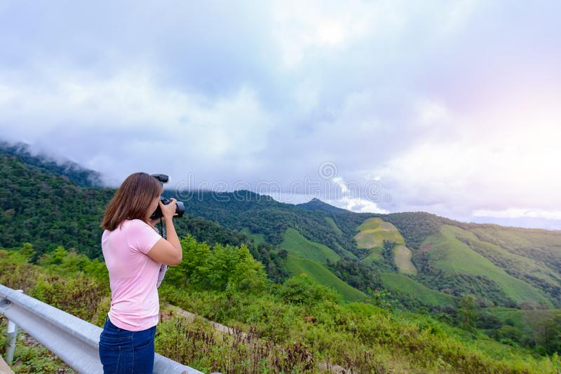 Women photographers are shooting landscapes stock photo