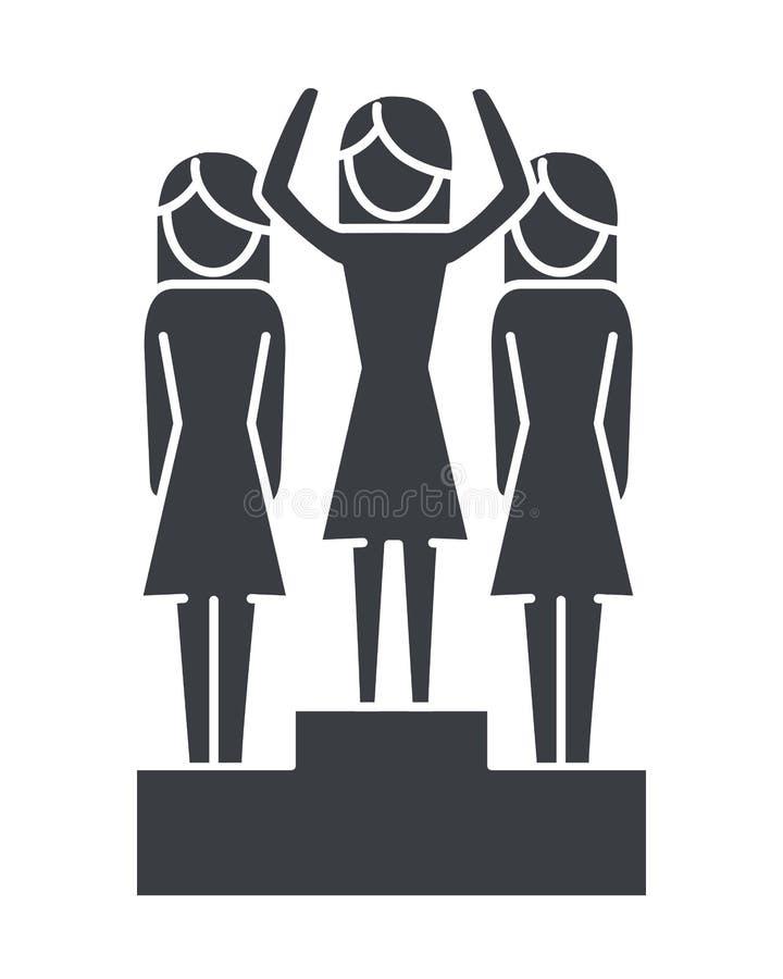 Women pictogram cartoon. Women pictogram over success podium cartoon vector illustration graphic design stock illustration
