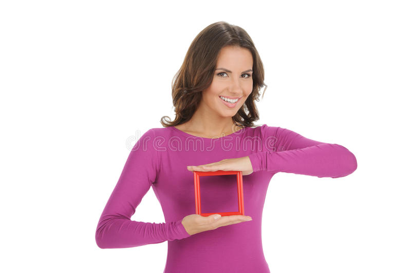 Women with picture frame. stock images