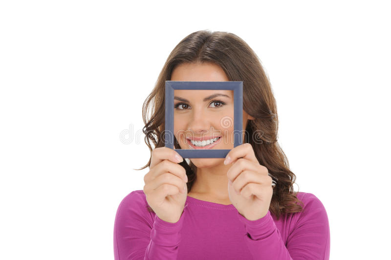 Women with picture frame. stock photo