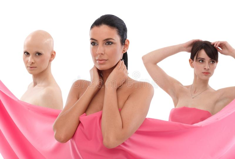 Women in pink - Breast Cancer Awereness royalty free stock photo