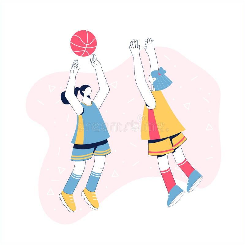Women playing basketball. Girls train to black shot. Women`s basketball concept. Vector illustration. Girls train to black shot stock illustration