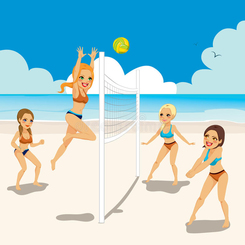 Women Playing Beach Volleyball stock illustration
