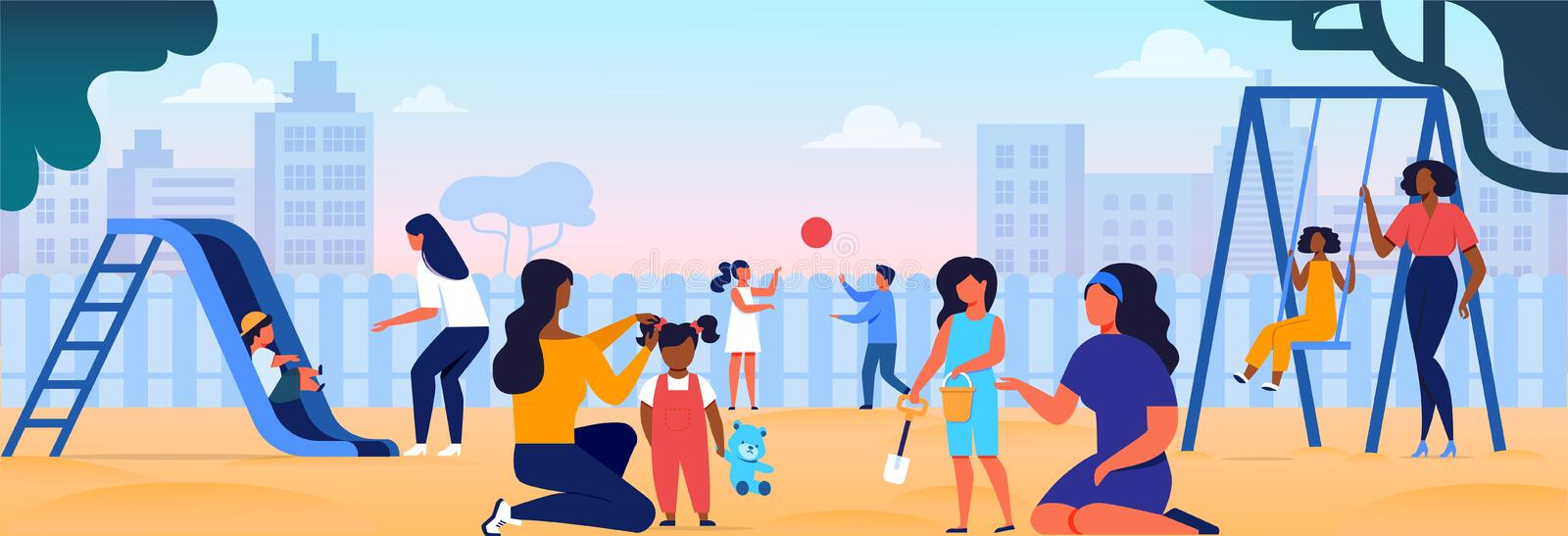 Women Playing with Kids on Kindergarten Playground. Women Playing with Kids on Playground. Mothers Spending Time with Children in Playing Yard in City. Maternity stock illustration