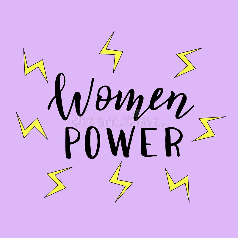 Women power hand drawn poster. Trendy feminist sticker, print for t-shirt, cup, cover. vector illustration