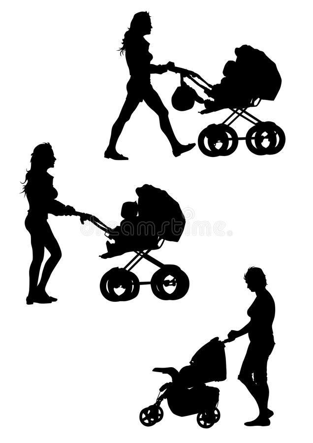 Download Women with prams stock vector. Image of illustration - 10143287