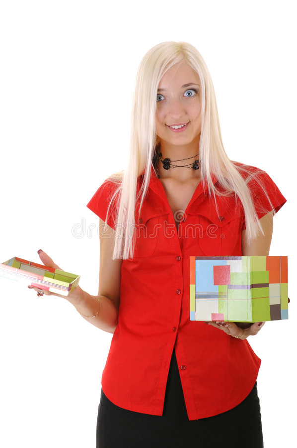 Download Women with present stock image. Image of give, hair, background - 7514511