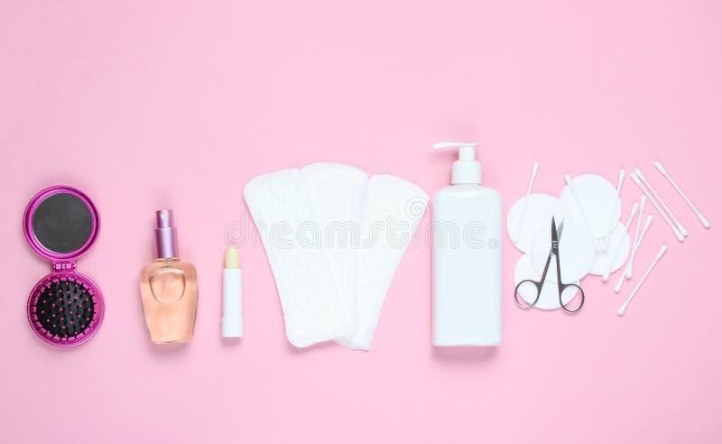women& x27; prodotti di bellezza e di igiene di s fotografia stock