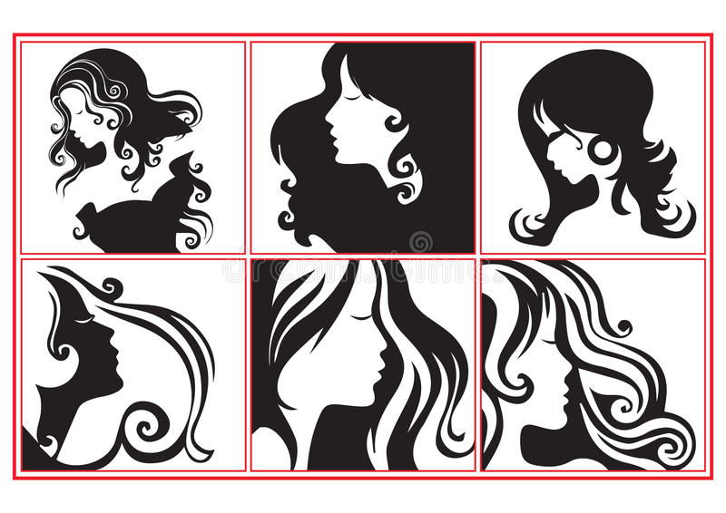 Women profiles. Collection of fashion women profiles illustration in black and white vector illustration