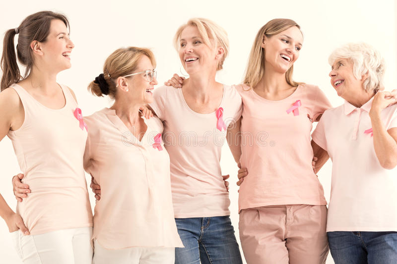 Women promoting breast cancer prevention royalty free stock images