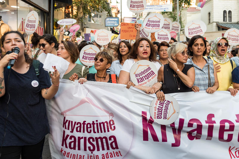 Women Protesters rally in kadikoy,Istanbul,Turkey stock image