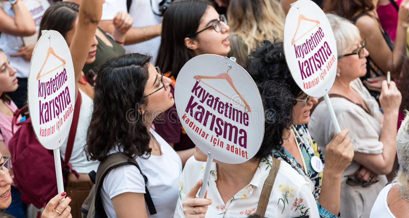 Women Protesters rally in kadikoy,Istanbul,Turkey royalty free stock images