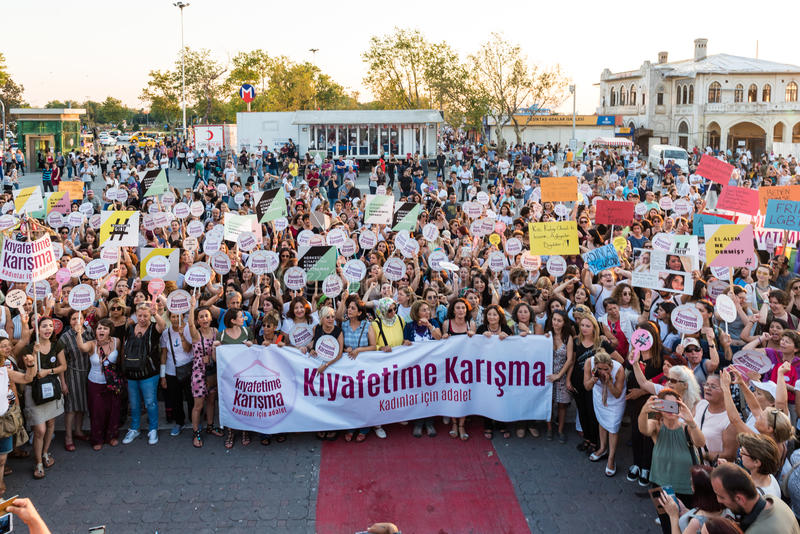 Women Protesters rally in kadikoy,Istanbul,Turkey royalty free stock image