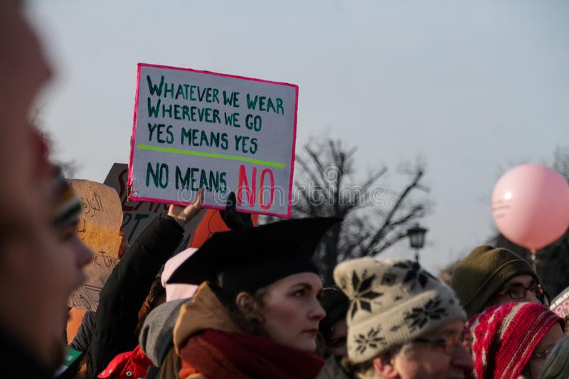 Women are protesting for equal rights at the annual `Women`s March`. BERLIN, GERMANY - January 19, 2019: Hundreds of women are protesting for equal rights and royalty free stock photo