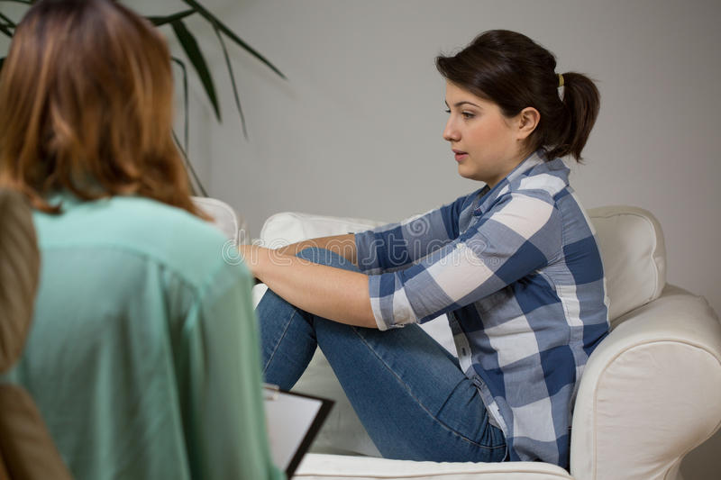 Women at psychotherapist stock image