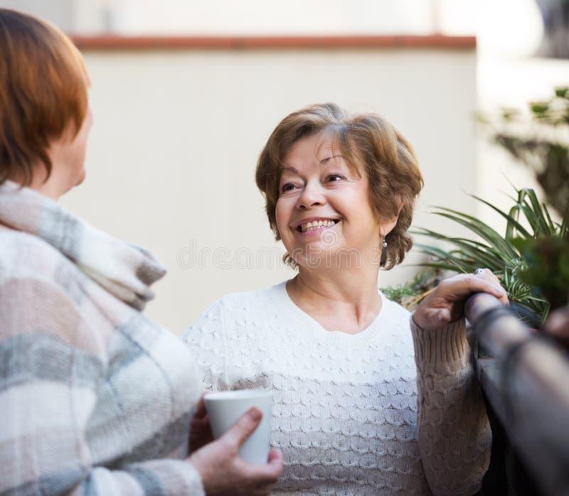 Women in pullovers on terrace. Portrait of senior women in pullovers having cup of tea on terrace stock image