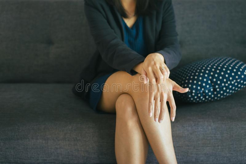 Women with rash or papule and scratch on her arm from allergies,Health allergy skin care problem stock photography