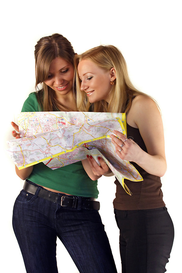 Women Reading Map stock images
