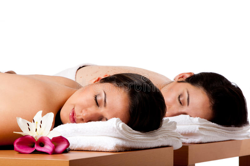 Women ready for spa massge stock photos