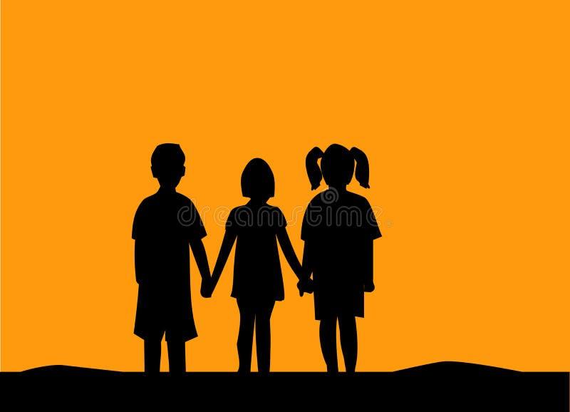 Silhouette of three children friendship at sunset stock illustration