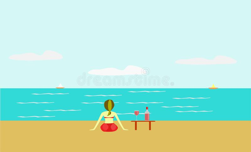 Women red bikini There is a bottle of wine on the beach stock illustration