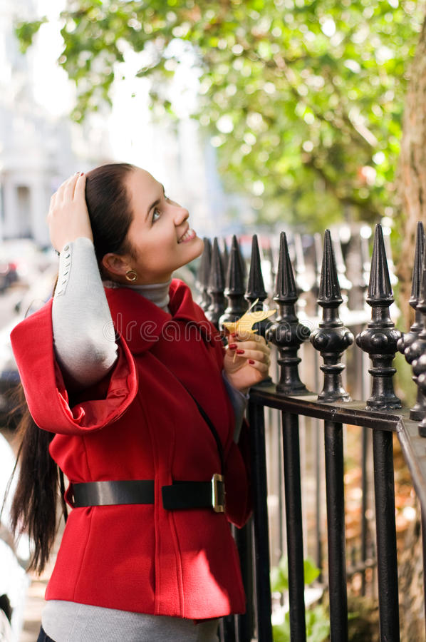 Download Women In Red Coat On The Street Stock Image - Image: 18046049