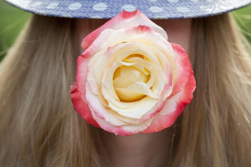 Women red rose retro hat stock photography