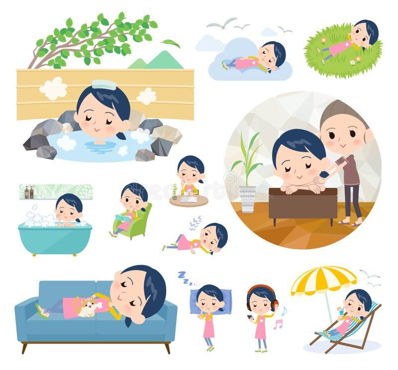 Women_relax de gardienne d'enfants illustration de vecteur