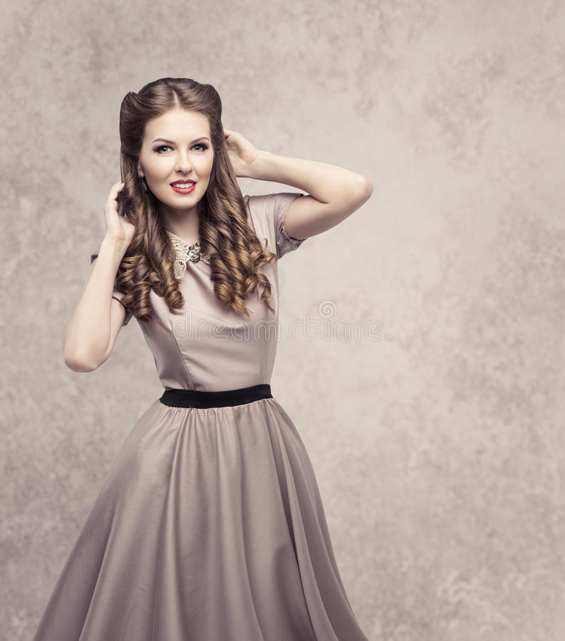Women Retro Beauty Hairstyle, Fashion Model in Vintage Dress stock photography