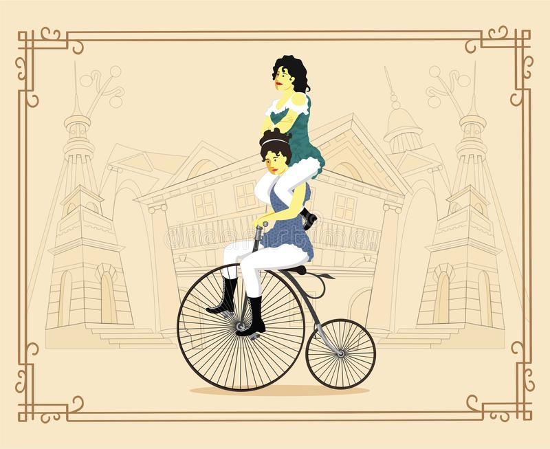 Women on a retro bicycle on cityscape background vector Illustration stock photography