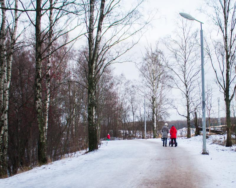 Women walking with strollers in the city Park in winter royalty free stock image
