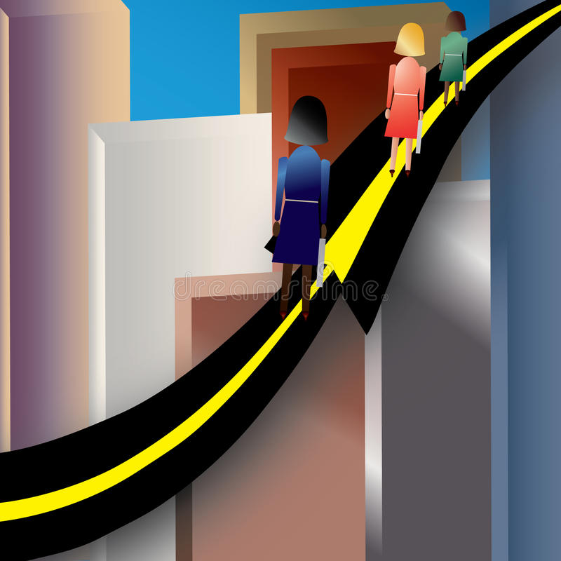 Women Road to Success. Illustration showing three (3) women climbing the road (arrow) to success in an urban environment royalty free illustration