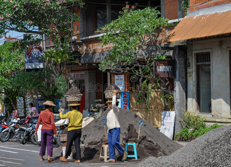 Women road workers Bali Indonesia royalty free stock photography