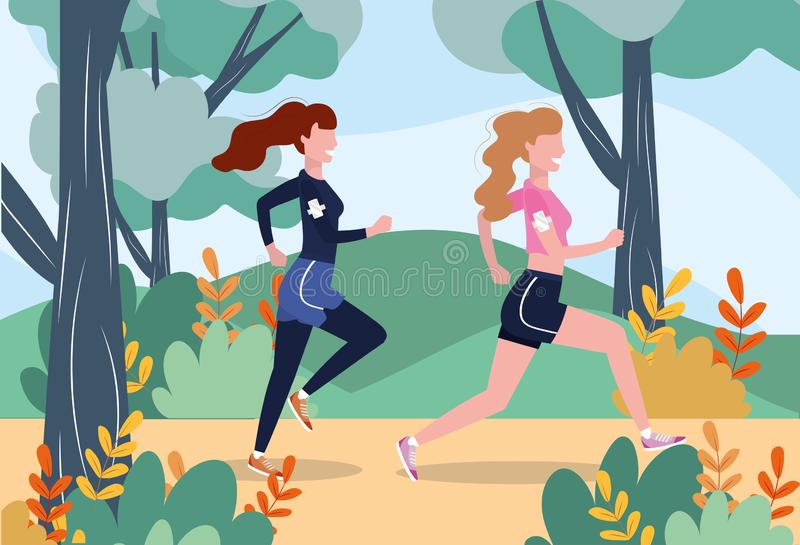 Women running practice fitness exercise stock illustration