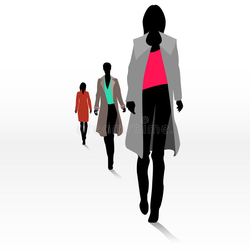 Women on the runway. Group of female fashion silhouettes on the runway vector illustration