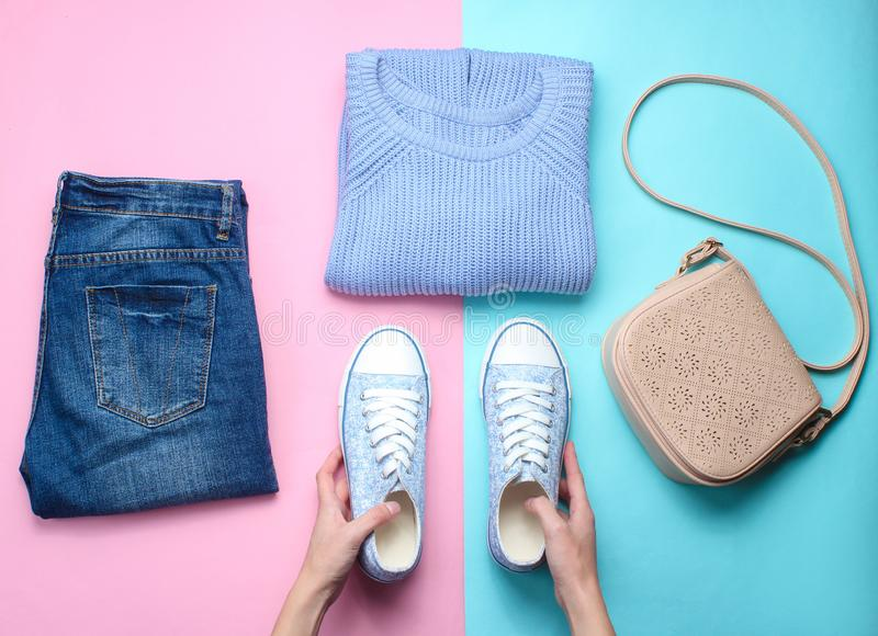 Women's accessories, clothing shoes stock images