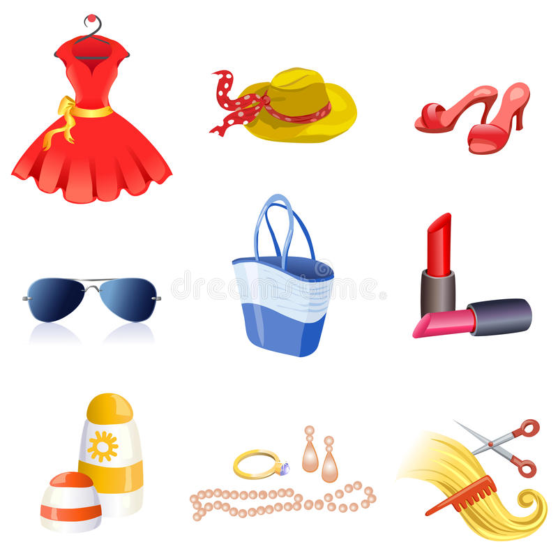 Women's accessories icons. Vector illustration