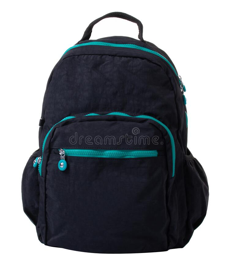 Free Women\ S Backpack Made Of Black Fabric With Turquoise Zippers. Stock Image - 216185521