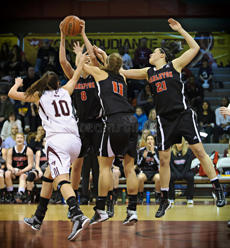 Women's Basketball. Carleton's Lindsay Shotbolt (blue 8) is first to the ball during the OUA East Final against Carleton on March 2 2013 in Ottawa, Canada stock images
