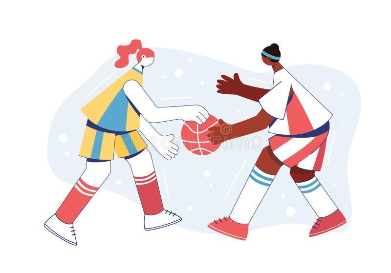 Women playing basketball. Girls train to dribble royalty free illustration