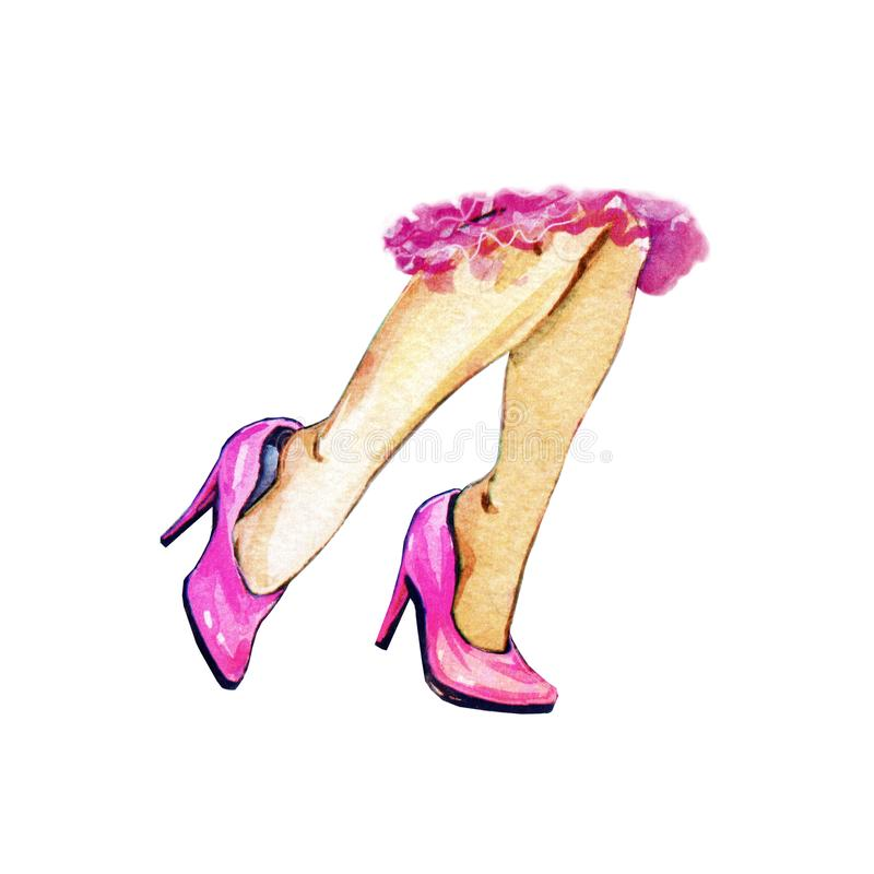 Women`s beautiful legs in pink shoes with heels. Animation, watercolor stock illustration