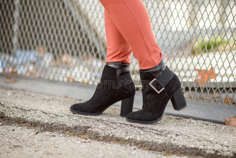 Women`s black boots royalty free stock image