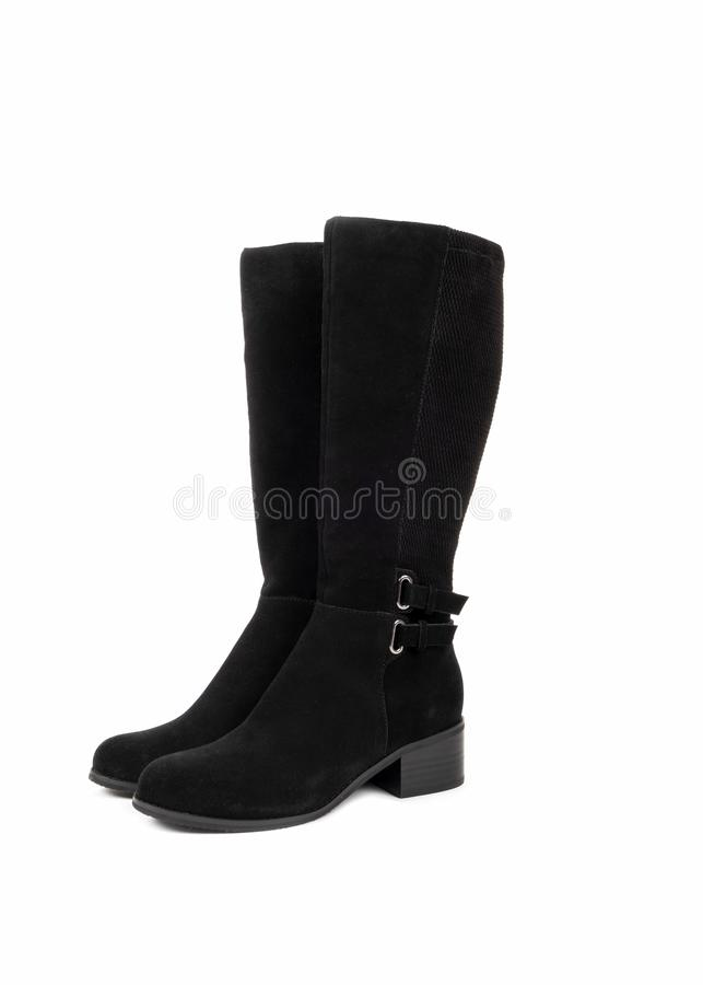 Women's Black Leather Suede Boots 3 obrazy royalty free