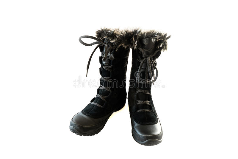 Women's black snow boots royalty free stock images