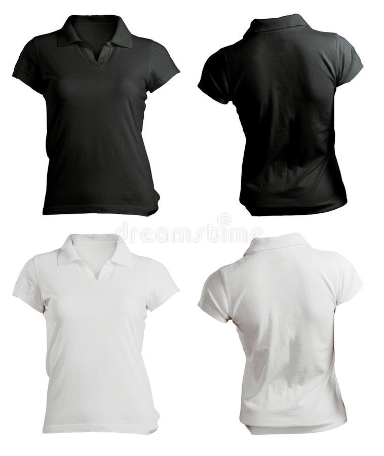 Women's Blank Black and White Polo Shirt Template. Women's Blank Black and White Polo Shirt, Front and Back Design Template royalty free stock images