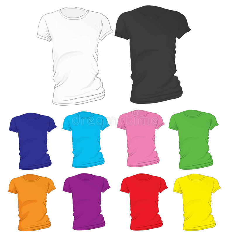 Women\'s Blank T-Shirt Template In Many Color Stock Vector ...