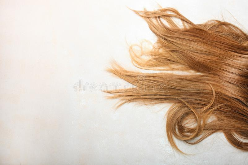 Women`s blond hair. On neutral background. Top ivew, copy space stock images