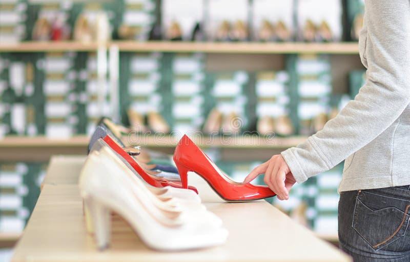 womens footwear store stock image