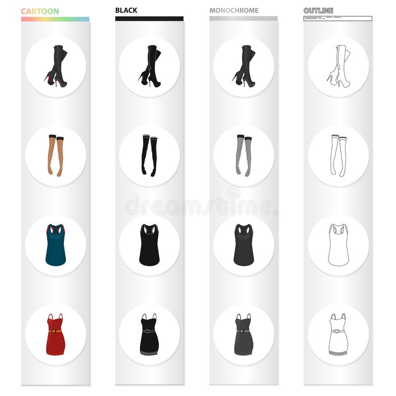 Women`s boots, stockings, T-shirt, dress sarafan. Women`s clothing and footwear set collection icons in cartoon black. Monochrome outline style vector symbol royalty free illustration