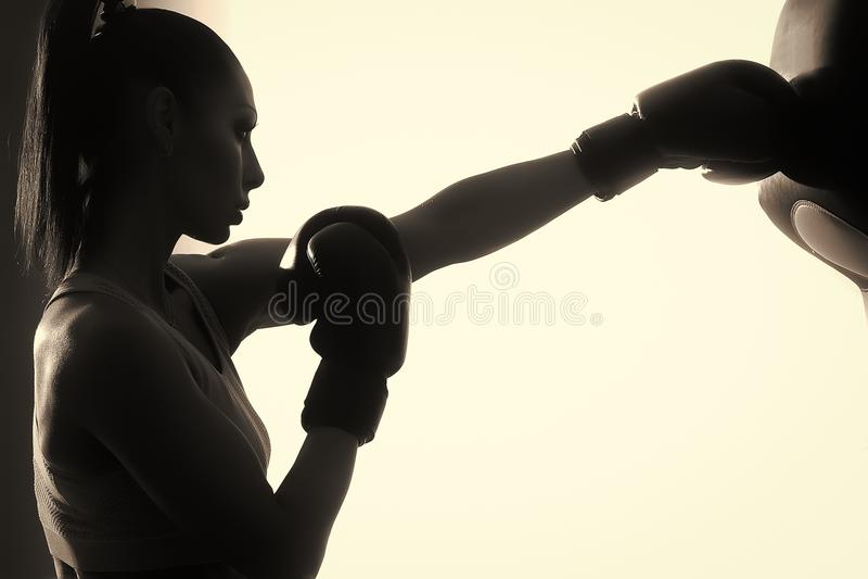 Women`s boxing. Female boxer royalty free stock photo